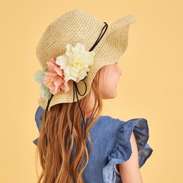 Toddler Girls Flower Decor Floppy Hat