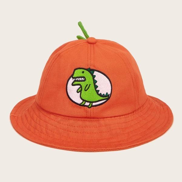 Toddler Kids Dinosaur Embroidery Bucket Hat