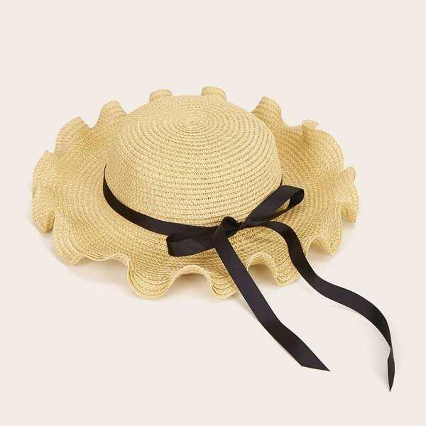 Girls Bow Knot Ruffle Hem Hat