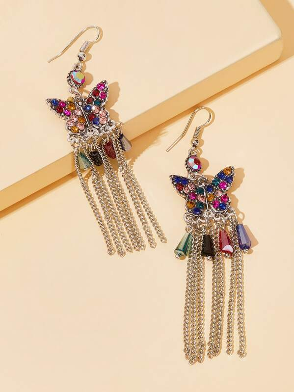 Rhinestone Engraved Butterfly Tassel Drop Earrings 1pair, null