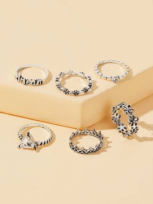 Flower & Rhinestone Decor Ring 6pcs, null