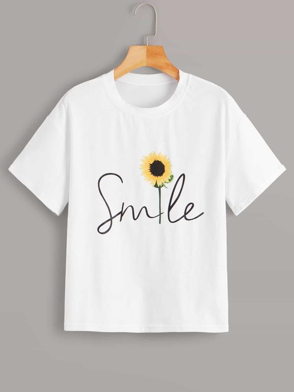 Sunflower & Letter Print Tee, null