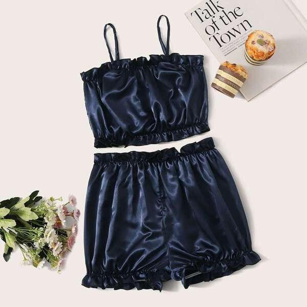 Frill Trim Satin Cami Pajama Set