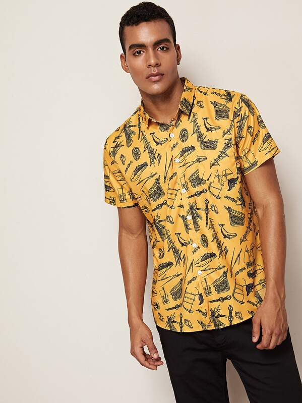 Men Random Print Button Front Shirt, Gabriel