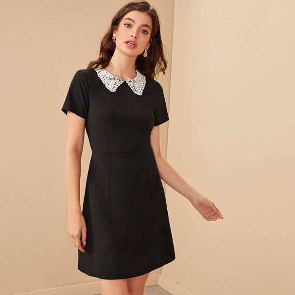Contrast Peter Pan Collar A-line Dress, Black