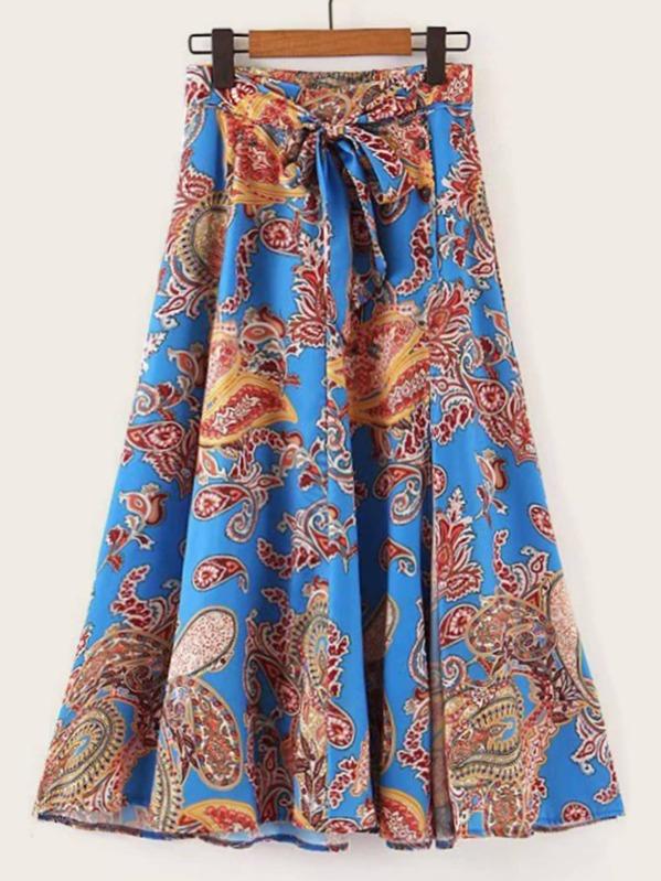 Paisley Print Self Tie Slit Hem Skirt, null