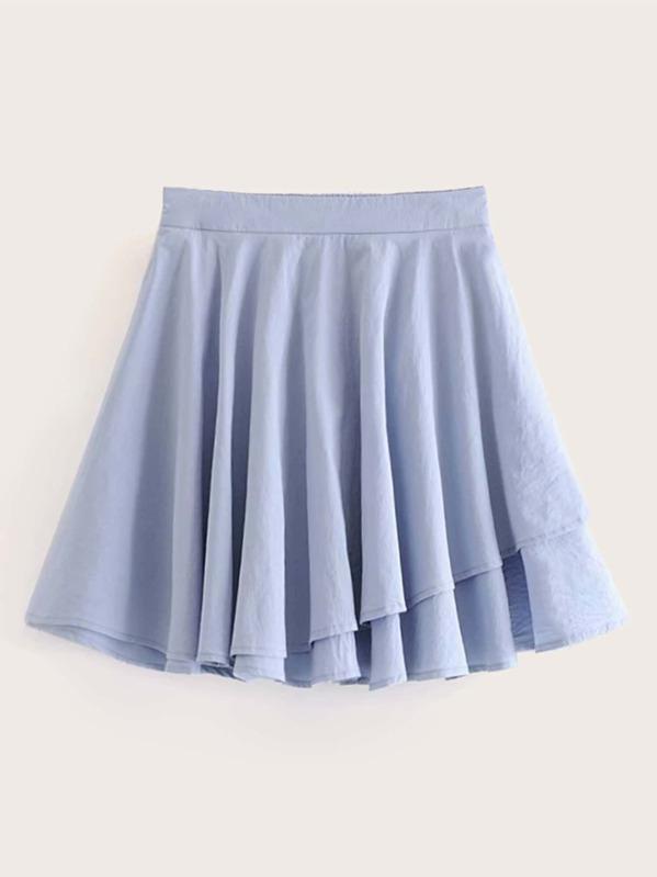 Solid Tiered Hem Elastic Waist Skirt, null