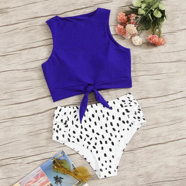 Knot Hem Top With Dalmation Print Bikini Set