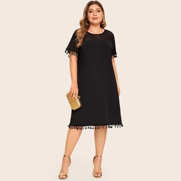 Plus Contrast Mesh Tassel Trim Dress, Black