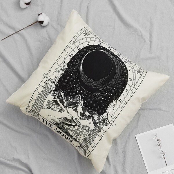 Mountain & Moon Pattern Cushion Cover, Black and white