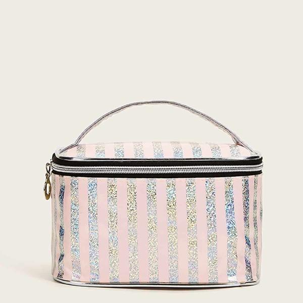 Striped Pattern Makeup Bag