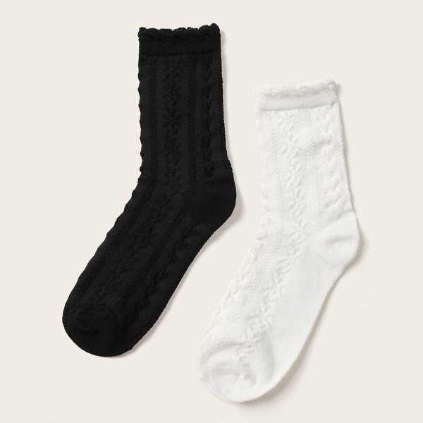 Simple Socks 2pairs, Black and white