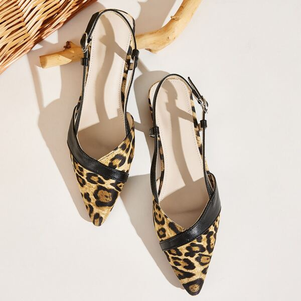 Point Toe Leopard Slingback Flats