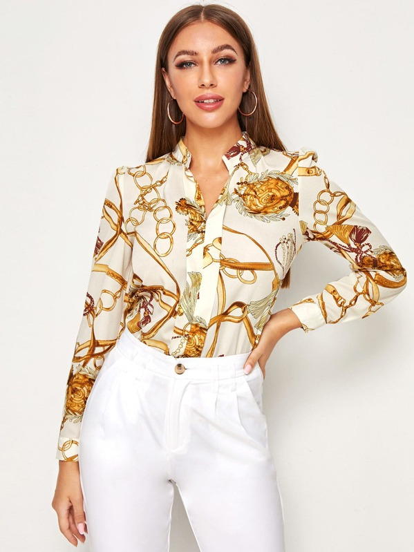 Chain Print Longline Sleeve Blouse, Multicolor, Hanna