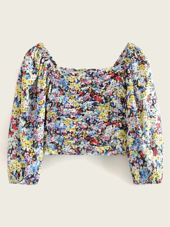 Colourful Floral Print Ruched Blouse, null