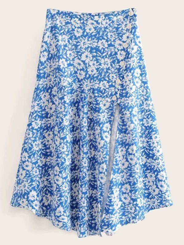 Floral Print Split Thigh Skirt, null