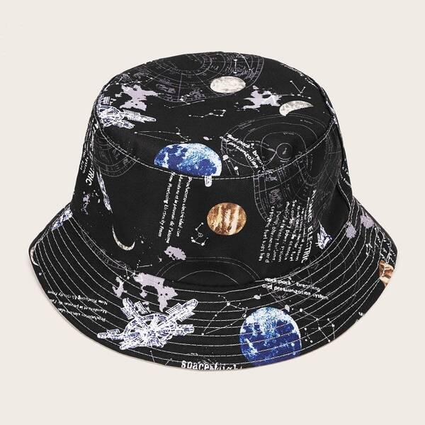 Men Planet Pattern Bucket Hat