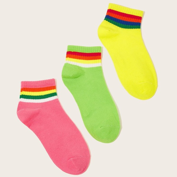 Striped Pattern Neon Ankle Socks 3pairs