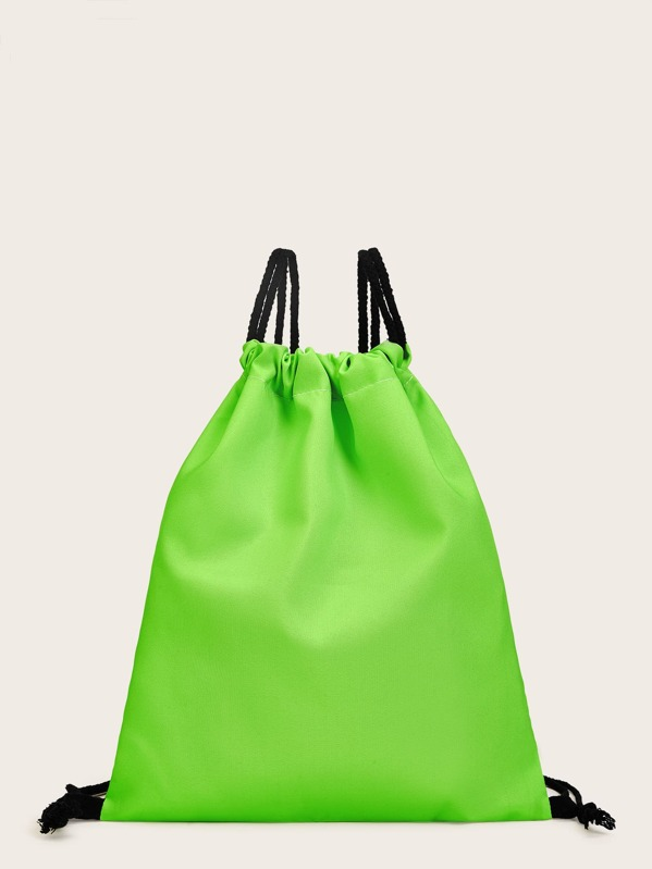 Bright Green Backpack With Drawstring, null