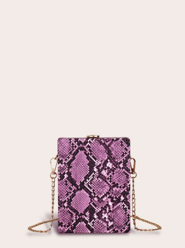 Snakeskin Print Structured Box Bag, null