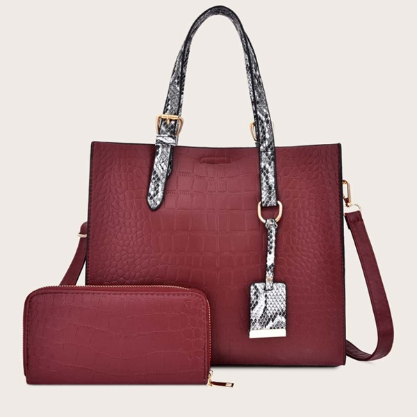 Croc Embossed Tote Bag With Purse 2pcs, Red