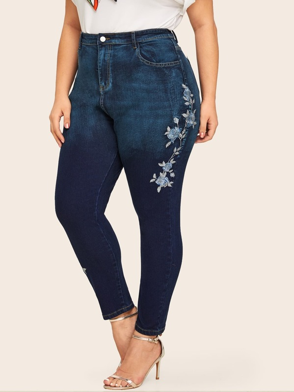 Plus Floral Embroidery Skinny Jeans, Navy, Carol
