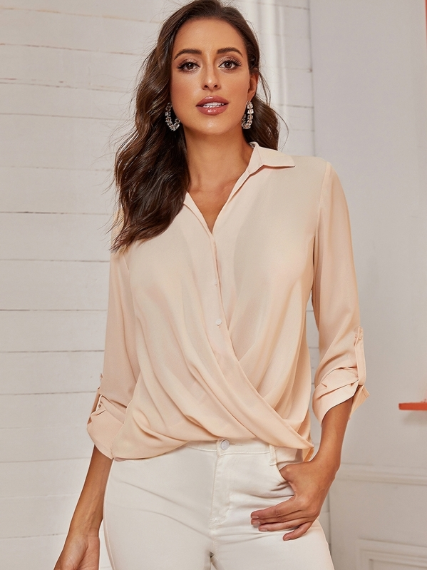 Roll-up Sleeve Surplice Solid Blouse, Mary P.