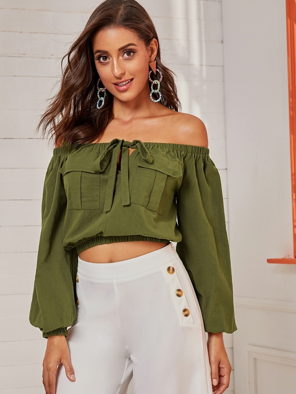 Knot Front Off Shoulder Crop Top, Mary P.