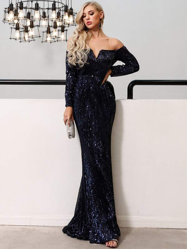 Missord V Bar Off Shoulder Sequin Maxi Dress, null