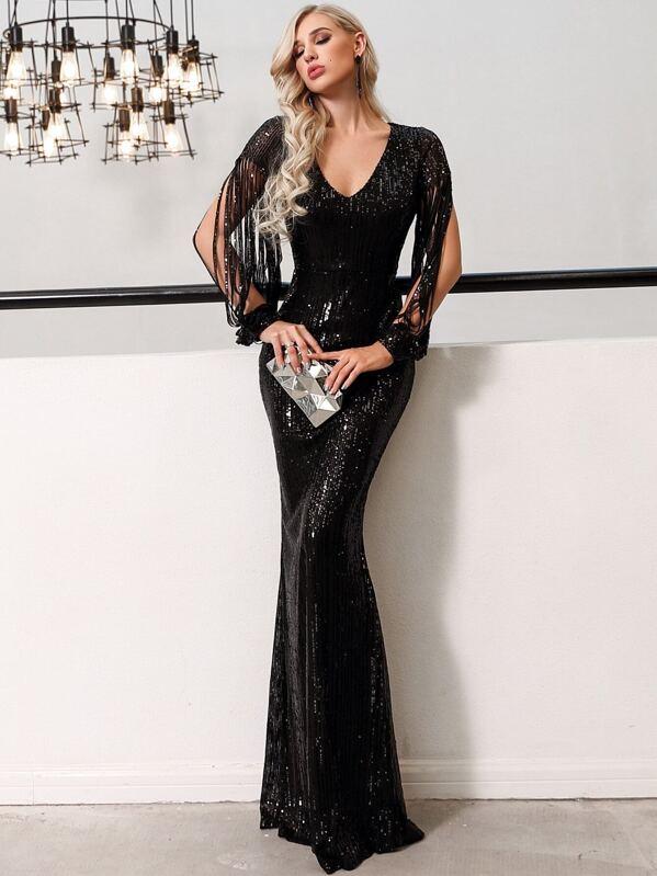 Missord Split Sleeve Sequin Bodycon Maxi Dress, null