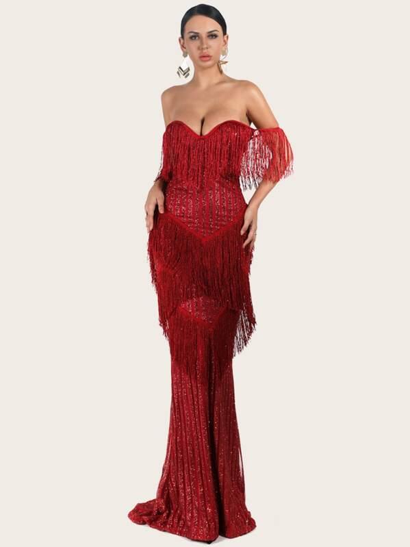 Missord Layered Fringe Bardot Sequin Floor Length Dress, null