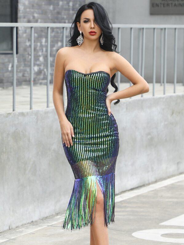 Missord Fringe Trim Sequin Bodycon Tube Dress, null