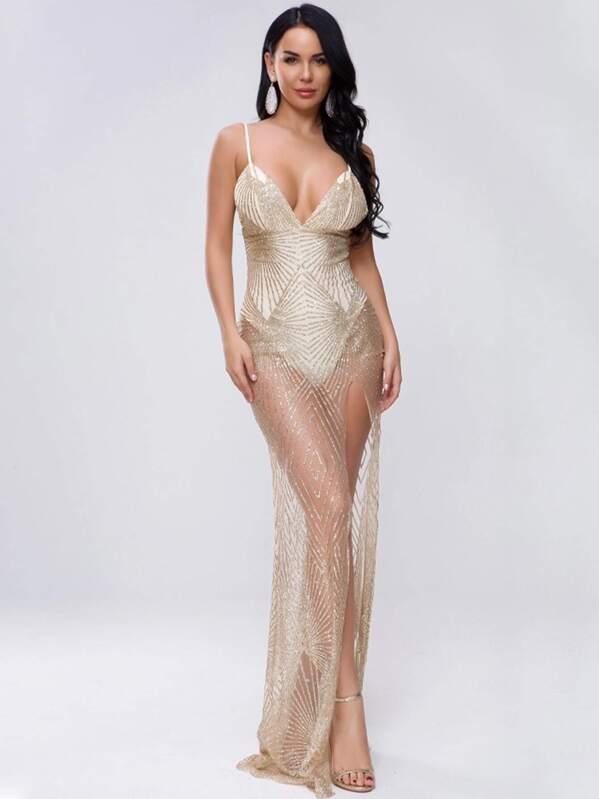 Missord Split Thigh Bodysuit Insert Sequin Mesh Slip Dress, null