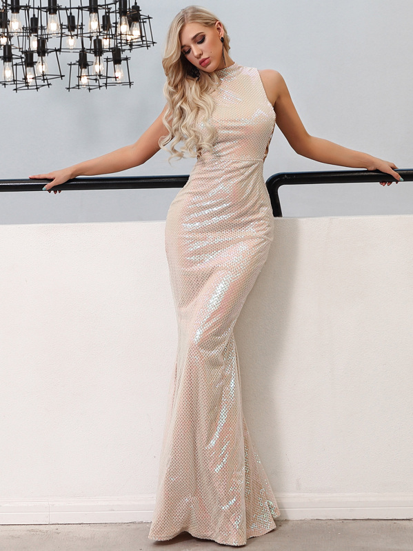 Missord Lace Up Side Fishtail Hem Sequin Maxi Dress, null