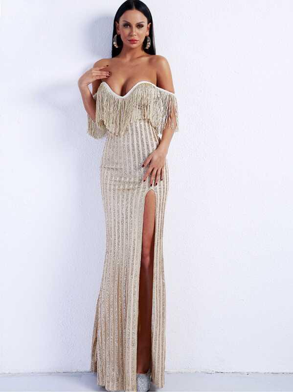 Missord Fringe Trim Split Thigh Sequin Bardot Maxi Dress, null