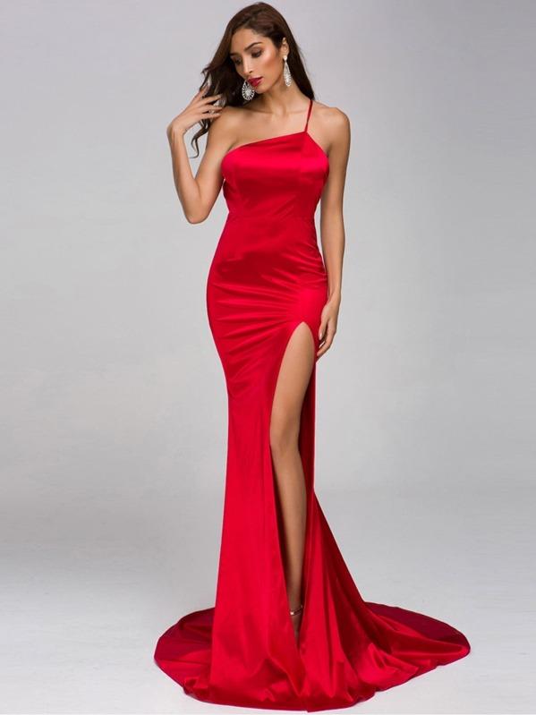 Missord One Shoulder Split Thigh Satin Floor Length Dress, null