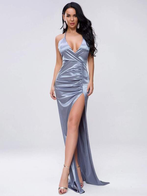 Missord Split Thigh Ruched Satin Maxi Halter Dress, null