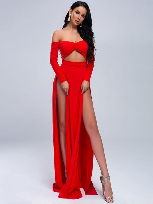 Missord M-slit Hem Peekaboo Front Bardot Maxi Dress, null