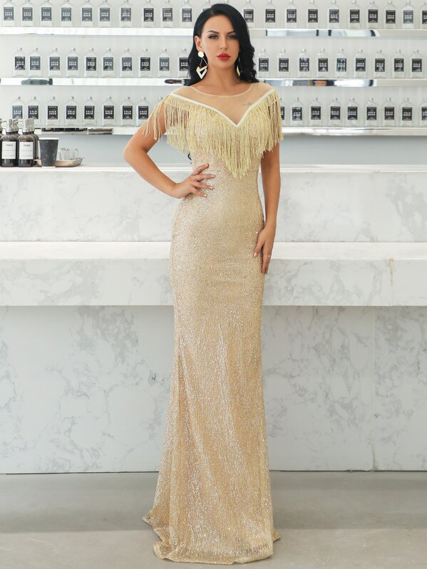Missord Mesh Insert Fringe Trim Sequin Maxi Dress, null