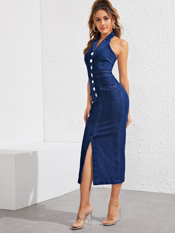 Button Front Flap Pocket Slit Hem Halter Denim Dress, Giulia