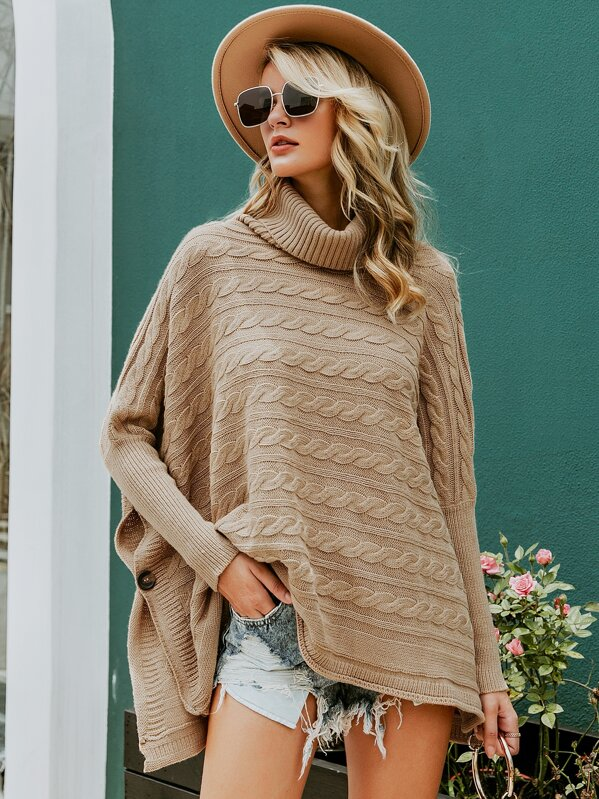 Simplee Turtleneck Buttoned Side Cable Knit Cape Sweater