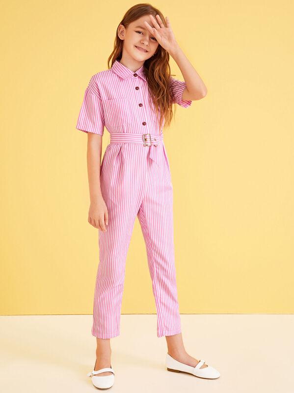 Girls Half Placket Pocket Front Striped Belted Jumpsuit, Pink, Sashab