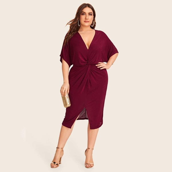 Plus Solid Twist Front Split Hem Dress, Burgundy