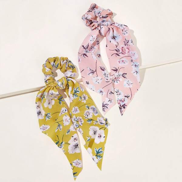 Floral Pattern Scrunchie Scarf 2pcs, Multicolor
