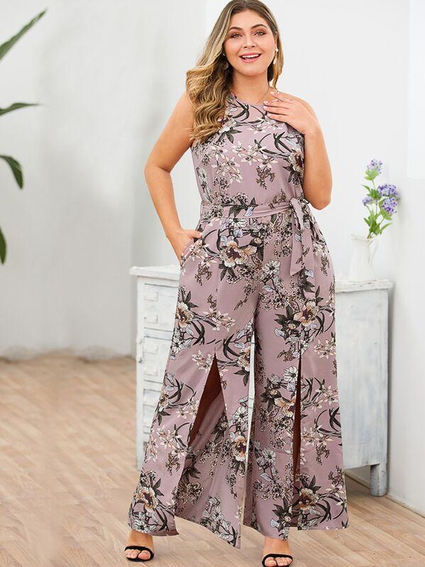 Plus Split Front Belted Floral Cami Jumpsuit, Nora