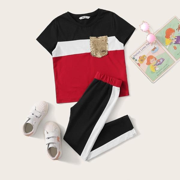 Girls Sequin Pocket Colorblock Top & Side Striped Pants Set, Multicolor