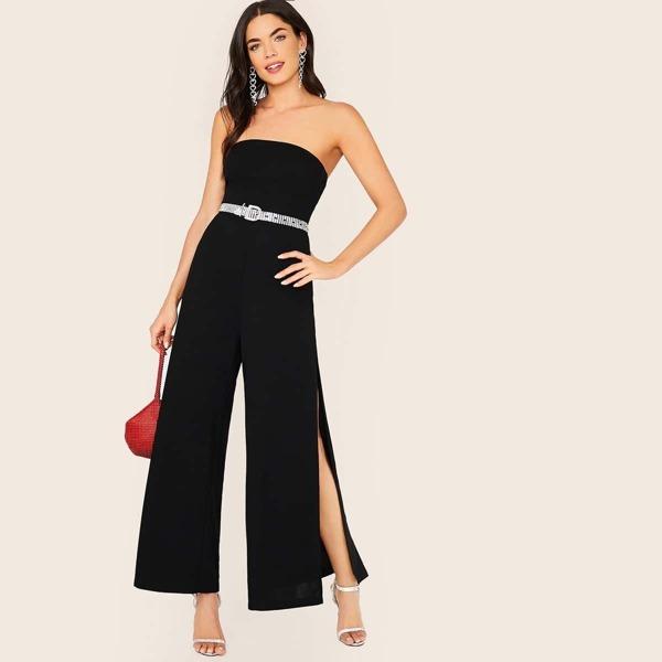 Zipper Front Split Thigh Tube Jumpsuit Without Belt, Black
