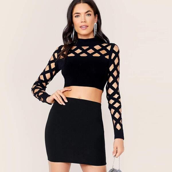 Mock-neck Cage Shoulder Top & Bodycon Skirt Set