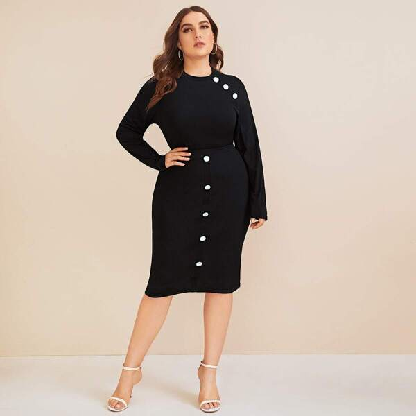 Plus Button Detail Long Sleeve Top & Skirt Set, Black