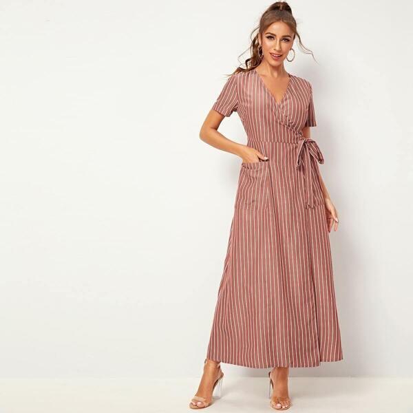 Striped Self Tie Wrap Dress, Pink